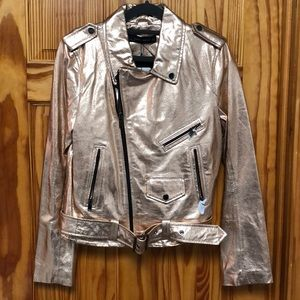 Rose gold metallic faux leather jacket